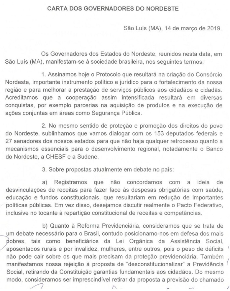 carta dos governadores 14 03 19
